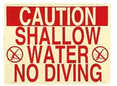 Shallow Water No Diving Pool Sign